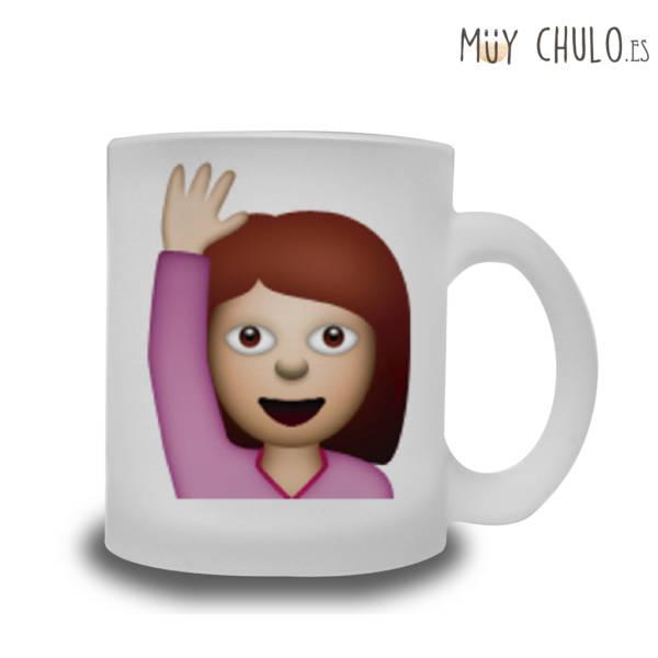 Emoji Taza Chica saludando