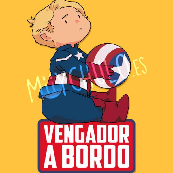 Pegatina Capitán América VENGADOR A BORDO