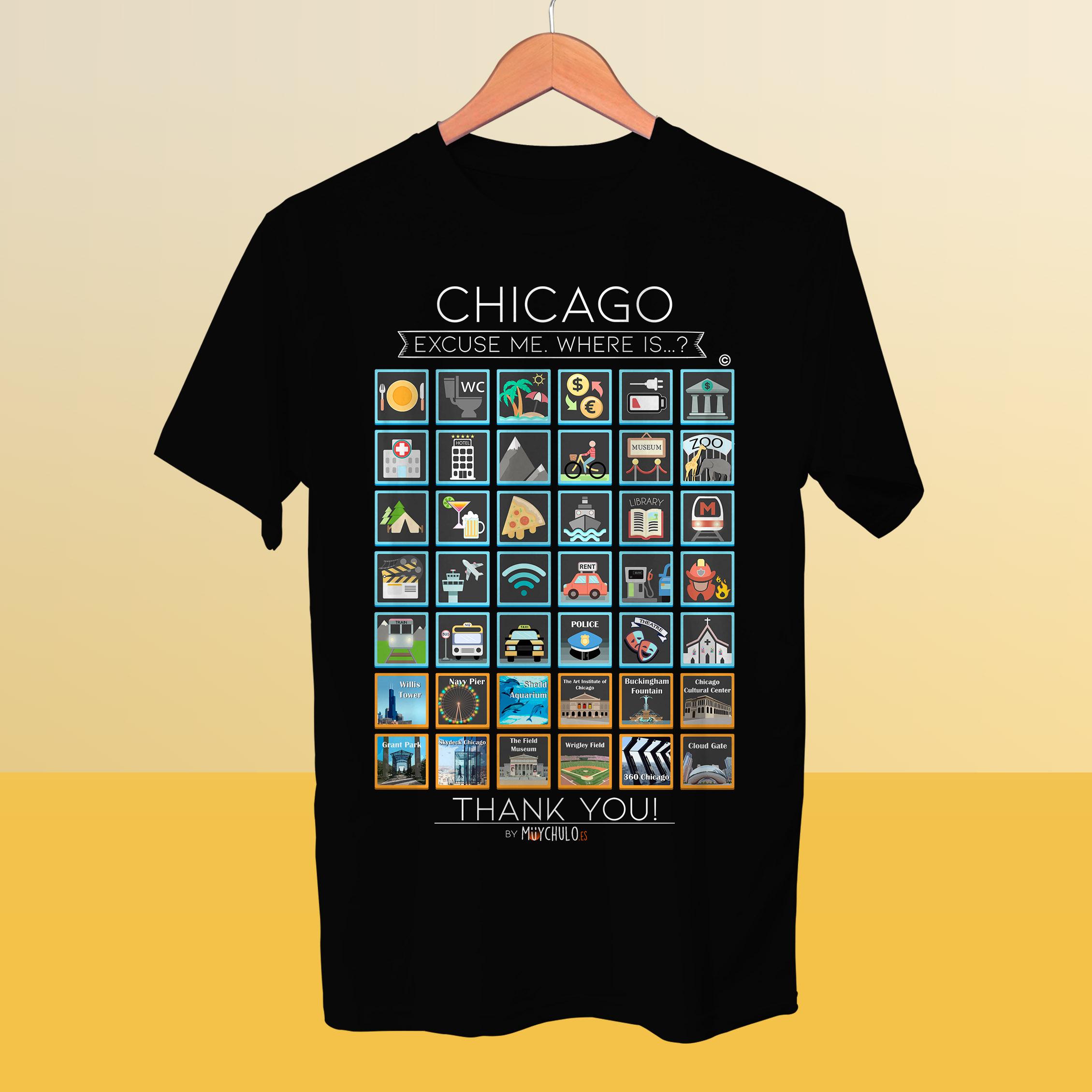 CHICAGO Camiseta Viajeros - MuyChulo Regalos Originales 6206a23bd71