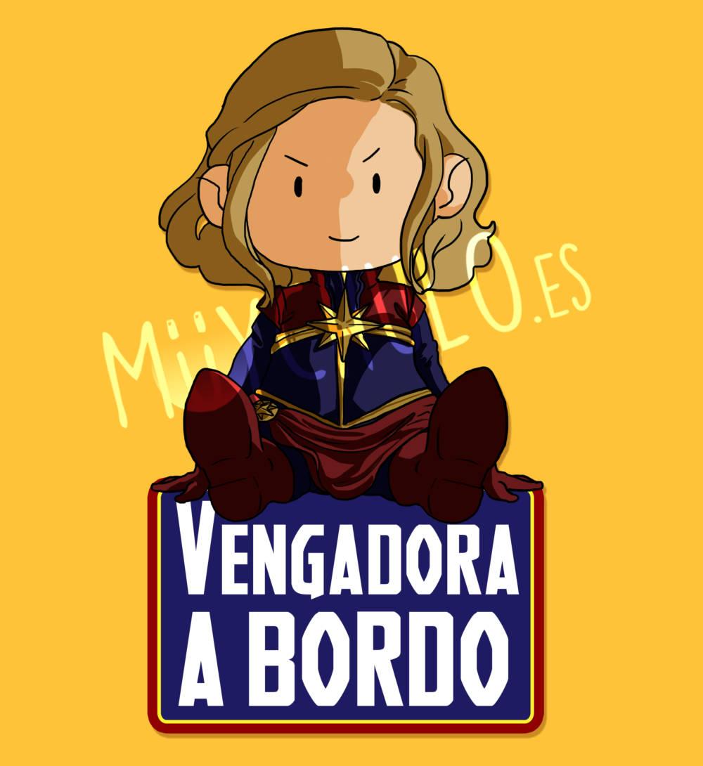 Pegatina Capitana Marvel VENGADORA A BORDO