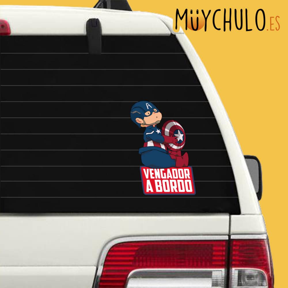 Pegatina Capitán América VENGADOR A BORDO 2
