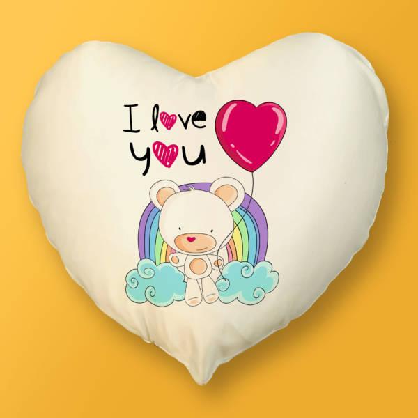 Cojín Corazón Oso Amoroso I LOVE YOU