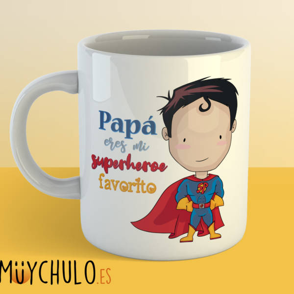 Taza Papá eres mi superhéroe favorito