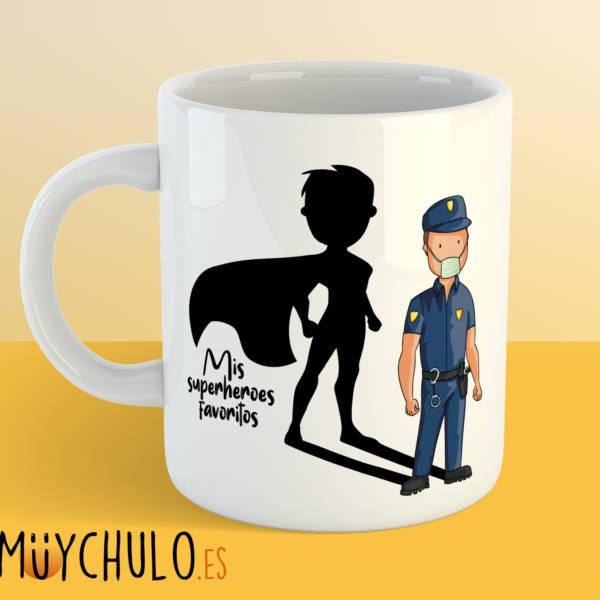 Taza POLICIA Mis superheroes favoritos
