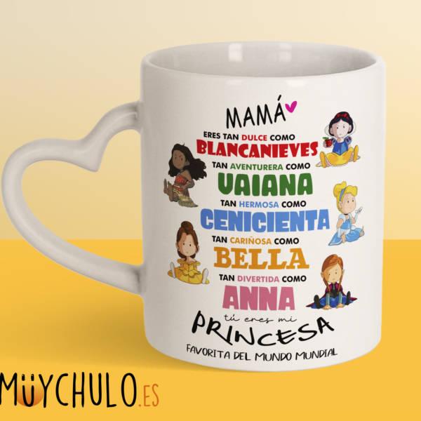 Taza Corazón Princesas Disney DIA DE LA MADRE 2