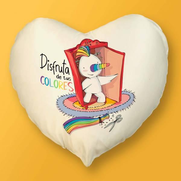 Cojín Corazón Disfruta de tus colores
