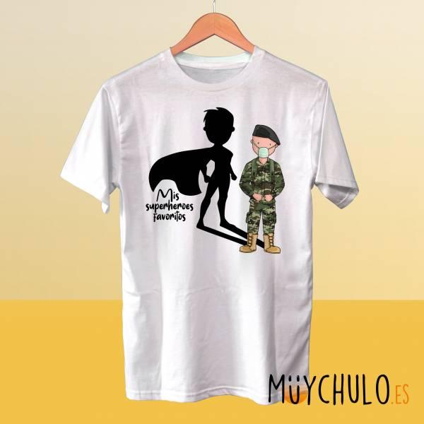 Camiseta MILITAR CHICO Mis superheroes favoritos