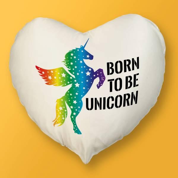 Cojín Corazón Born To Be Unicorn LGBTIQ+