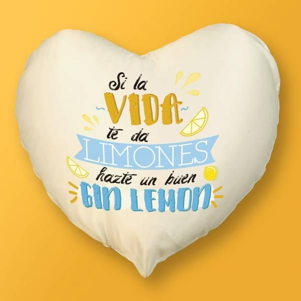 Cojín Corazón Si la vida te da limones hazte un buen gin lemon